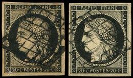 EMISSION DE 1849 - 3g Et 3h, 20c. Noir Intense Sur Blanc Et Sur Teinté, Obl. GRILLE, TB, Cote Et N° Maury - 1849-1850 Cérès