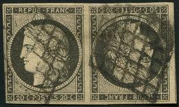 EMISSION DE 1849 - T3   20c. Noir Sur Jaune, PAIRE TETE BECHE, Obl. GRILLE, TB, Certif. Miro - 1849-1850 Cérès