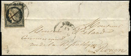 Let EMISSION DE 1849 - 3    20c. Noir Sur Jaune, Fort Pli D'archive, Obl. PLUME Et Càd T15 10/(1/49) Sur LAC, B/TB - 1849-1850 Cérès