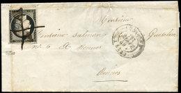 Let EMISSION DE 1849 - 3a   20c. Noir Sur Blanc, à Peine Effl. En Bas à Droite, Obl. PLUME Seule S. LSC, Càd T15 LORIENT - 1849-1850 Cérès