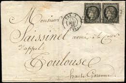 Let EMISSION DE 1849 - 3a   20c. Noir Sur Blanc, PAIRE Obl. GRILLE S. LAC, Càd PARIS 24/5/50, TTB - 1849-1850 Cérès