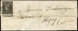 Let EMISSION DE 1849 - 3b   20c. Noir Sur CHAMOIS, Nuance Foncée, Obl. GRILLE S. LAC De Paris 22/6/50, Arr. Càd T14 ISIG - 1849-1850 Cérès