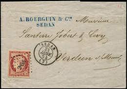 """Let EMISSION DE 1849 - 6     1f. Carmin Nuance """"cerise"""" Obl. PC 2855 S. LAC, Càd T15 SEDAN 24/1/54, Superbe - 1849-1850 Cérès"""