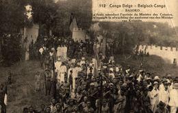 Cpa CONGO BELGE - BASOKO, La Foule Attendant Le Ministre, ENTIER POSTAL - STATIONERY, Circulée 1922 - Congo Belge - Autres