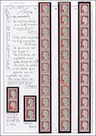 ** VARIETES - 1263   Marianne De Decaris, 0,25 Gris Et Grenat, 3 BANDES De 11 Avec  + 2 Paires De Roulettes Avec Variété - Variétés Et Curiosités