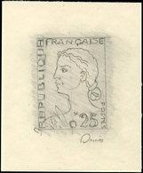 EPREUVES D'ARTISTES ET D'ATELIER - 1263   Marianne De Decaris, 0,25, Maquette Au Crayon Sur Calque, Signée Decaris, TB - Epreuves D'artistes