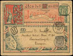 Let ENTIERS POSTAUX - Sage, 5c. Vert, Env. Rec. N°D10a, Fête De Jeanne D'Arc, En Rouge Et Bleu-noir, Obl. Bergues 31/1/9 - Entiers Postaux