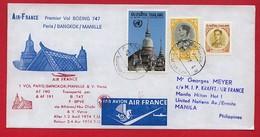 Thailande - Firs Flight Bangkok-Manille By Boeing 747 - Air France 1974 - Thailand