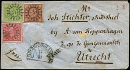 Let ALLEMAGNE (ANCIENS ETATS) BAVIERE 4 : 1k. Carmin, N°5 6k. Brun-rouge Et N°6 9k. Vert Obl. 247 S. Env., Càd KIRCHHEIM - Bavière