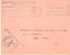 Yonne : AUXERRE Franchise L'INGENIEUR DES EAUX ET FORETS - Postmark Collection (Covers)