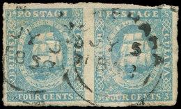 GUYANE BRITANNIQUE 8 : 4c. Bleu, PAIRE Obl., TB - Guyane (1966-...)