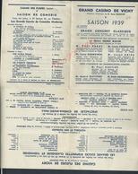 AFFICHE TYPE DEPLIANT GRAND CASINO DE VICHY SAISO 1939 : - Posters