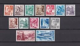 Baden  - 1948 - Michel Nr. 14/27 - Postfrisch - 35 Euro - Französische Zone