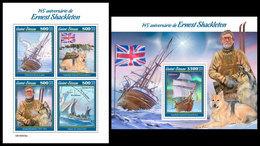 GUINEA BISSAU 2019 - E. Shackleton, Endurance. M/S + S/S. Official Issue - Polar Ships & Icebreakers