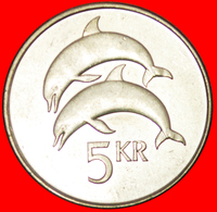 + GREAT BRITAIN DOLPHINS (1996-2008): ICELAND ★ 5 CROWNS 1999 MINT LUSTER! LOW START ★ NO RESERVE! - Islandia