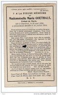 Mademoiselle Marie Goethals ° 30/5/1896 Kortrijk Courtrai + 16/7/1914 - Obituary Notices