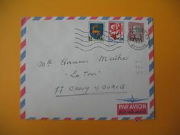 Lettre De La Réunion CFA  1968  N° 342 - 350 - 373  De Saint Denis Pour La France Crouy Sur Ourcq - Reunion Island (1852-1975)