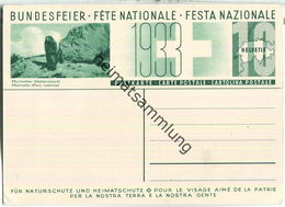 Bundesfeier-Postkarte 1933 - 10 Cts - Für Natur- Und Heimatschutz - Murmeltier - Steinbock - Interi Postali
