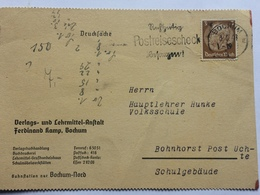 GERMANY 1941 Postcard Bochum `Postreisescheck` Slogan Postmark Military Cachet - Briefe U. Dokumente