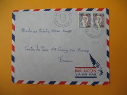 Lettre De La Réunion CFA  1969  N° 349A Marianne De Cocteau De La Possession  Pour La France Crouy Sur Ourcq - Réunion (1852-1975)