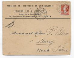 1913 - SOMME - ENVELOPPE De SAILLY FLIBEAUCOURT Avec CACHET BUREAU DE DISTRIBUTION => MOREY - Postmark Collection (Covers)