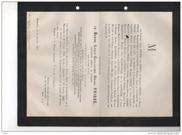 Baron Louis Prisse Lieutenant Generaal Commandant Palais °Maastricht 1816+25/1/1884 Roels De Laveleye Trasenster - Obituary Notices
