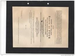 Messire Baron Du Four Veuf Du Bois D'Aische Herry Senateur Bourgmestre Turnhout °1871+7/1/1945 Van De Werve De Schilde - Obituary Notices