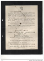 Messire Maximillien Comte De Renesse Breidbach Bourgmestre Oostmalle Veuf Du Bus De Gisignies °1867+31/3/1951 Jabbeke - Obituary Notices