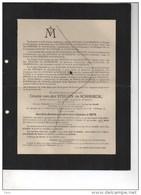 Eugène Comte Vander Stegen De Schrieck Senateur Conseil Namur Veuf De Cesve °Louvain 1830 +1907 Rosée Anthée De MAere - Obituary Notices