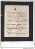 Charles Comte De Hemrocourt De Grunne Senateur Chambellan Royale Apostolique °1840+25/8/1911 Russon Bruxelles Liedekerke - Obituary Notices