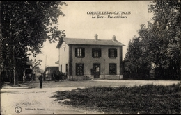 Cp Corbeilles En Gatinais Loiret, La Gare, Bahnhof, Straßenseite - France