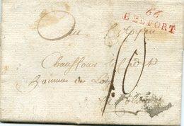 Lettre Avec Marque Linéaire 66 BELFORT En Rouge En Port Dû - Marcophilie (Lettres)