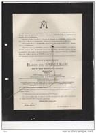 Louis Baron De Sadeleer Veuf Van Hoorde Ministre Etat Senateur Chambre Representants °Haaltert 1852 +6/5/1924 Etterbeek - Obituary Notices