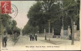 Cp Méry Sur Oise Val D'Oise, Rue De Paris, Grille Du Chateau - Frankreich