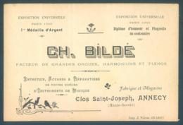 Carte De Visite Annecy Clos Saint Joseph CH. BILDE Instruments De Musique Orgue Harmonium Piano 8 X 12 Cm - Visiting Cards