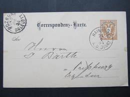 GANZSACHE Hainburg - Pressburg 1885 Korrespondenzkarte /// D*38723 - Briefe U. Dokumente
