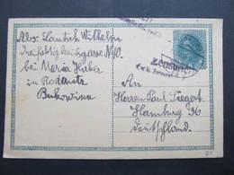 GANZSACHE Radautz - Hamburg 1918  Korrespondenzkarte /// D*38727 - Briefe U. Dokumente
