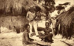 Cpa CONGO BELGE, Jeux Indigènes Le LOBESE, Circulée 1932 - Congo Belge - Autres