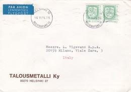 BUSTA VIAGGIATA  PAR AVION - FINLANDIA - HELSINKI - TLOUMETALLI KY - VIAGGIATA PER MILANO / ITALIA - Finlandia