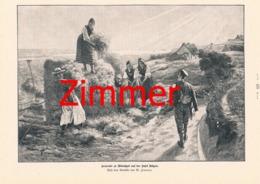 870 W.Zimmer Heuernte Insel Rügen Bauern Druck 1899 !! - Prints