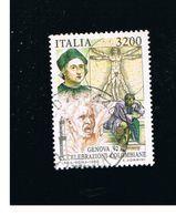 ITALIA REPUBBLICA  - SASS. 2028    -   1992  GENOVA 92: COLOMBO    -      USATO - 6. 1946-.. Repubblica
