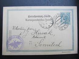 GANZSACHE Zdar U Svijan - Podoli - Semily Biene Bee Mnichovo Hradiste Münchengrätz 1904 Korrespondenzkarte /// D*38746 - 1850-1918 Imperium