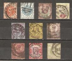 Grande-Bretagne - 1887/1900 - Victoria - Jubilée - Petit Lot De 10 Timbres° - YT 91 à 96/99/100/102/103 - Lots & Kiloware (mixtures) - Max. 999 Stamps