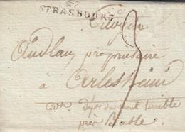 Timbre 67 STRASBOURG [38 X 8] Sur LAC Du 3.10.1801 Adressée à Arlesheim Avec Taxe Manuscrite 3 - Marcophilie (Lettres)