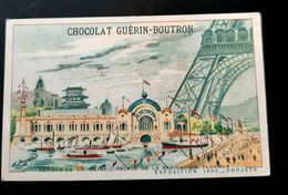 GUERIN BOUTRON CHOCOLAT SEINE PALAIS NAVIGATION FLUVIALE EXPOSITION 1900 PARIS CHROMO TRADE CARD VUES MONUMENTS EIFFEL - Guérin-Boutron