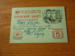RUSSIA USSR RED CROSS JUNIORS PIONEER SCOUT  MEMBER CARD , 5 KOPEK REVENUE  , O - Organizations