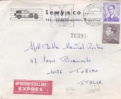 BUSTA VIAGGIATA   EXPRES - BELGIO - BRUXELLES - LEWY S CO S. P.R.L. VIAGGIATA PER TORINO / ITALIA - Belgio