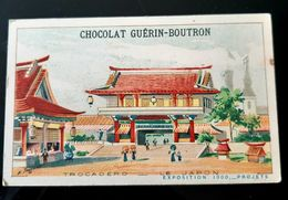GUERIN BOUTRON CHOCOLAT TROCADERO LE JAPON EXPOSITION 1900 PARIS CHROMO TRADE CARD VUES MONUMENTS JAPAN ASIA - Guérin-Boutron