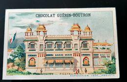 GUERIN BOUTRON CHOCOLAT INDE FRANCAISE RESTAURANT HINDOU EXPOSITION 1900 PARIS CHROMO TRADE CARD VUES MONUMENTS INDIA - Guérin-Boutron