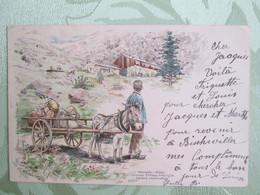 Carte Attelage D Ane . Serie Elsass Loth Postkarte . Illustrateur . Cachet Train . Frank / Mainz/ Strasb - Autres Communes